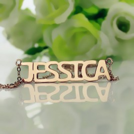 Solid Rose Gold Plated Jessica Style Name Necklace