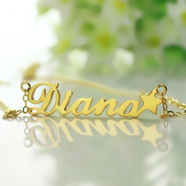 18ct Gold Plated Carrie Style Name Necklace With Star