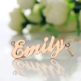 Cursive Script Name Necklace 18ct Solid Rose Gold