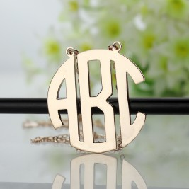 Solid Rose Gold Initial Block Monogram Pendant Necklace