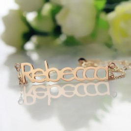 18ct Rose Gold Plated Rebecca Style Name Necklace