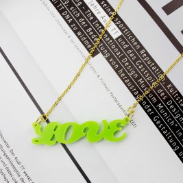 Colorful Cute Acrylic Name Necklace for Girls