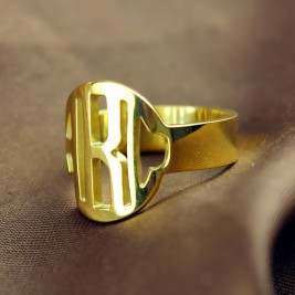 Personalised Circle Block Monogram 3 Initials Ring Solid Gold Ring