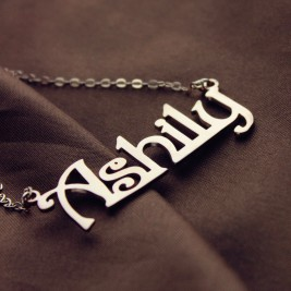 Solid Rose Gold Harrington Font Name Necklace