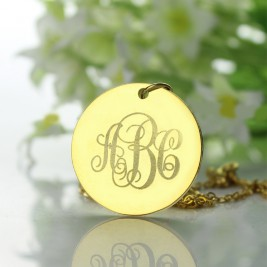 18ct Gold Plated Vine Font Disc Engraved Monogram Necklace