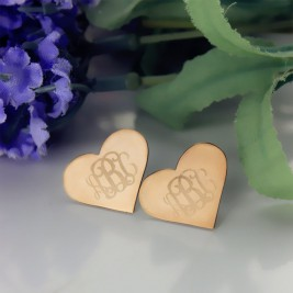 Heart Monogram Earrings Studs Cusotm Solid 18ct Rose Gold
