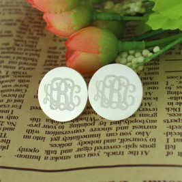 Engraved Monogram Stud Earrings Sterling Silver
