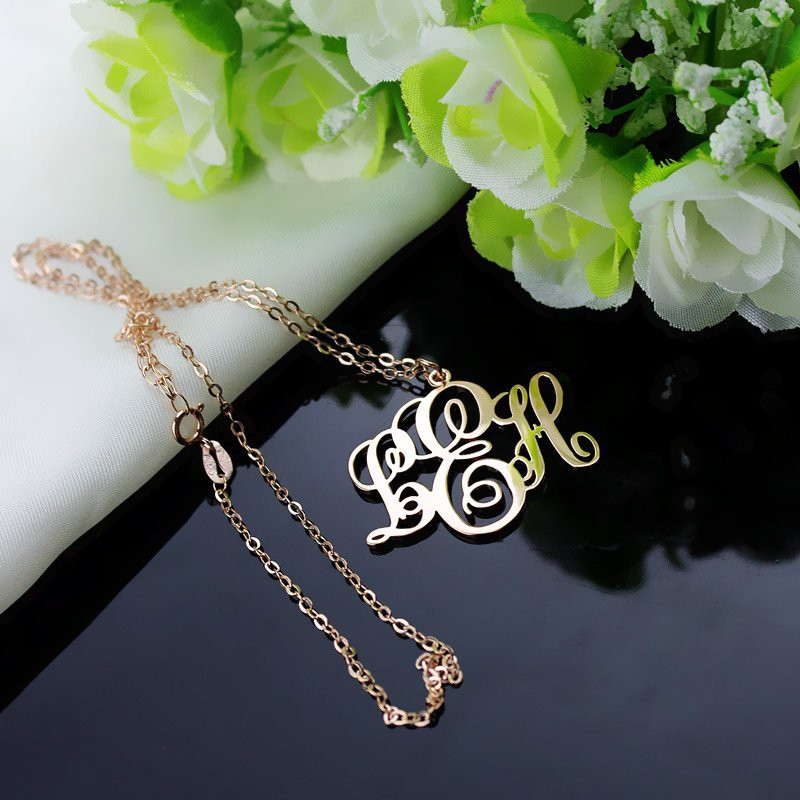b998ff0713277 Personalised Vine Font Initial Monogram Necklace 18ct Rose Gold Plated