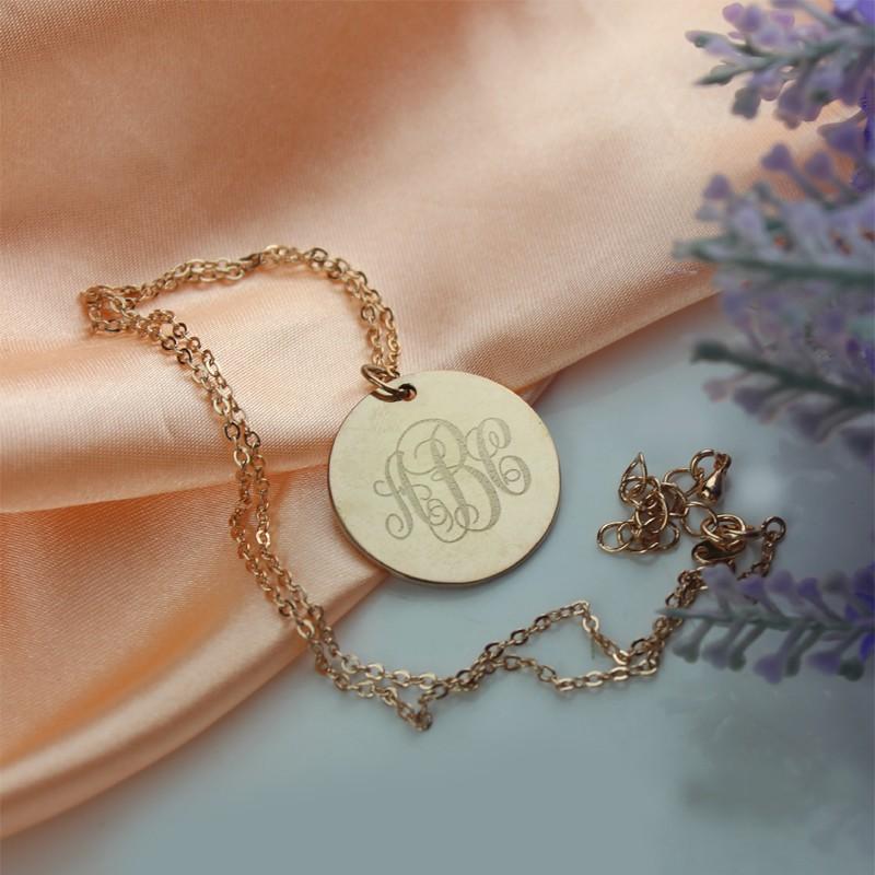 Solid Rose Gold Vine Font Disc Engraved Monogram Necklace