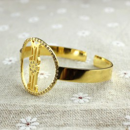 Personal Gold Plated Silver Monogram Circle Bracelet With Birthstone