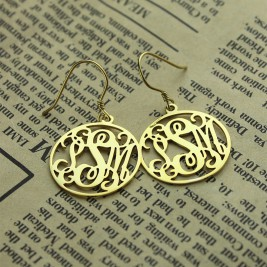 18ct Gold Plated Personalised Circle Monogram Earring