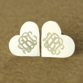 Heart Monogram Earrings Studs Cusotm 18ct White Gold Plated