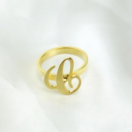Personalised Carrie Initial Letter Ring 18ct Gold Plated
