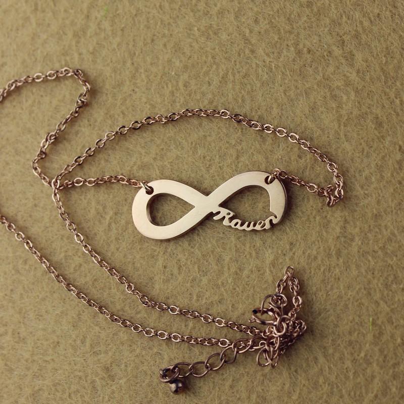 solid rose gold 18ct infinity name necklace. Black Bedroom Furniture Sets. Home Design Ideas
