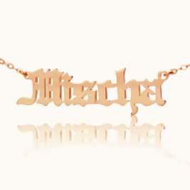 Mischa Barton Style Old English Font Name Necklace 18ct Rose Gold Plated