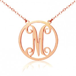 Solid Rose Gold 18ct Single Initial Circle Monogram Necklace