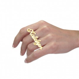 Two Finger Name Ring in Solid 18ct Gold
