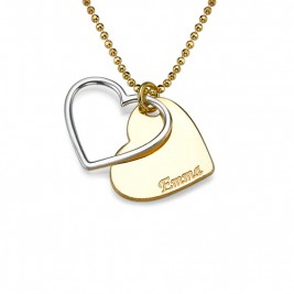 Personalised Two Tone Heart Necklace for Couples