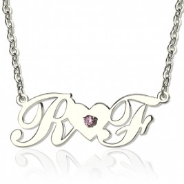 Sterling Silver Double initials Necklace