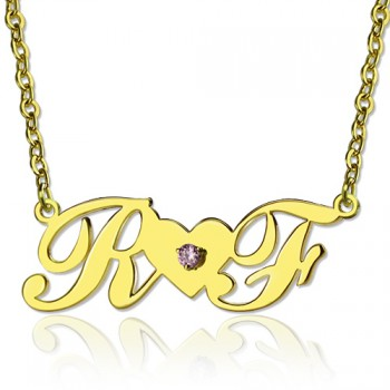 18ct Gold Plated Two Initials Necklace