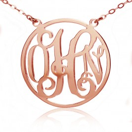 Circle 18ct Solid Rose Gold Initial Monogram Name Necklace