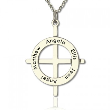 Silver Latin Style Circle Cross Necklace with Any Names