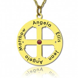 Cross Name Necklace with Circle Frame 18ct Gold Plated 925 Silver