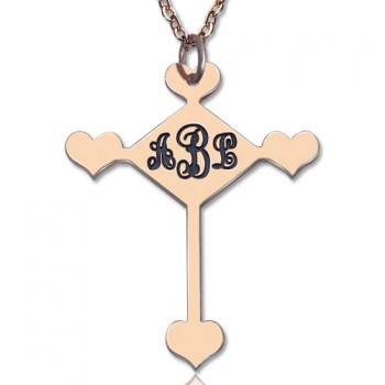 Custom 18ct Rose Gold Plated Cross Monogram Necklace