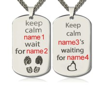 Personalised Cute His and Hers Dog Tag Necklaces Sterling Silver
