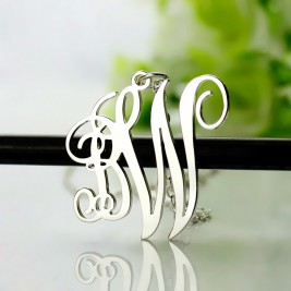 Personalised Vine Font 2 Initial Monogram Necklace 18ct Solid White Gold