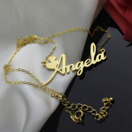 Personalised Solid Gold Fiolex Girls Fonts Heart Name Necklace