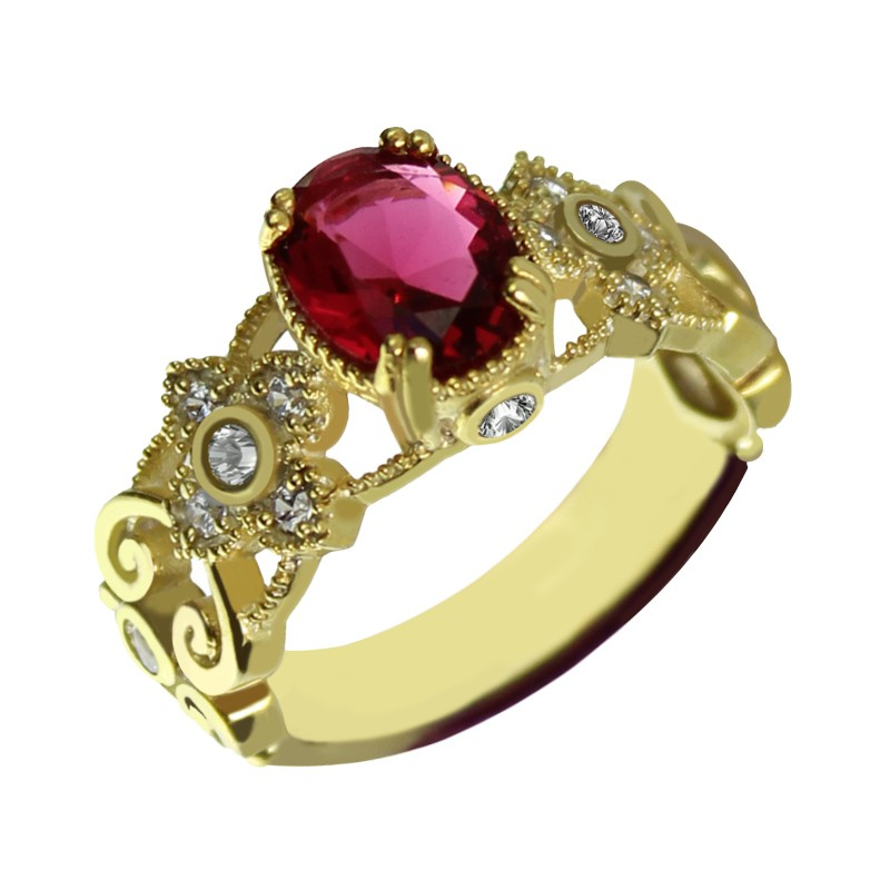 Engraved Name Mantilla Oval Engagement Ring 18ct Gold ...
