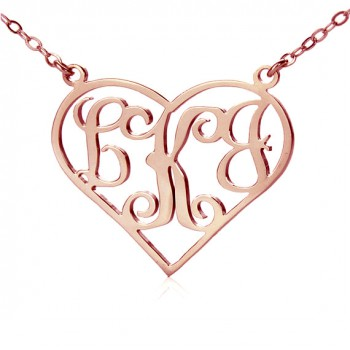 18ct Rose Gold Plated Initial Monogram Personalised Heart Necklace