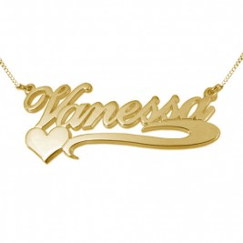 Side Heart 18ct Gold Plated Silver Name Necklace