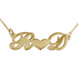 Couples Heart Necklace in 18ct Gold Plating
