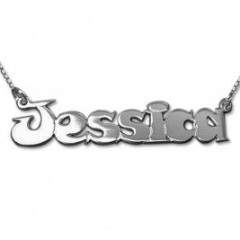 Comic Style Silver Name Necklace