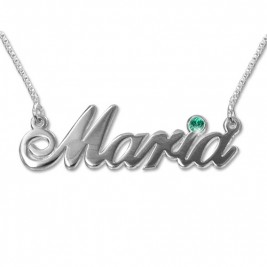 18ct white Gold and Swarovski Crystal Name Necklace