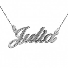 18ct White Gold Classic Name Necklace With Twist Chain