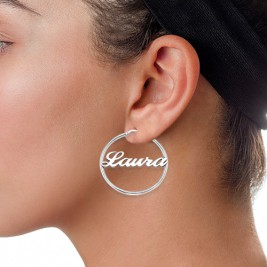 Sterling Silver Hoop Name Earrings