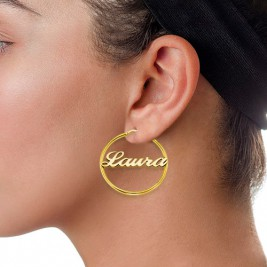 18ct Gold Plated Silver Hoop Name Earrings