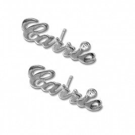 Sterling Silver Name Stud Earring with Crystal (PAIR)
