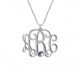 Sterling Silver Monogram Necklace with Swarovski