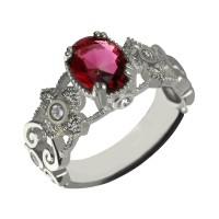 Engraved Name Mantilla Oval Engagement Ring Silver