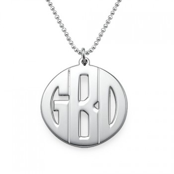 Personalised Silver Print Monogram Necklace
