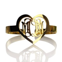 Personal Gold Plated Silver 3 Initials Monogram Bracelets With Heart