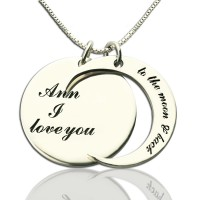Personalised I Love You to the Moon and Back Love Necklace Sterling Silver