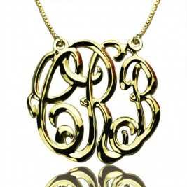 Celebrity Cube Premium Monogram Necklace Gifts 18ct Gold Plated