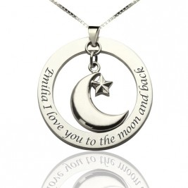 I Love You To The Moon and Back Moon  Start Charm Pendant