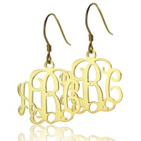 18ct Gold Plated Monogram Earrings
