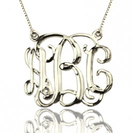 Personalised Cube Monogram Initials Necklace Sterling Silver